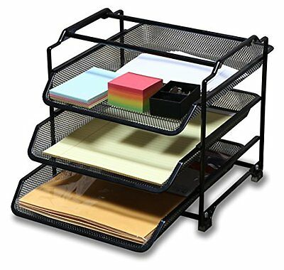 DecoBros STACKABLE 3 Tier Desk Document Letter Tray Organizer, Black...NEW
