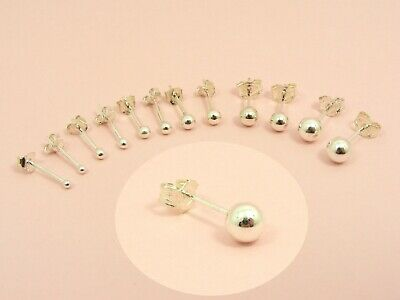925 Sterling Silver SMOOTH Ball STUD Post EARRINGS ~1.5mm 2mm 2.5mm 3mm 4mm 5mm~