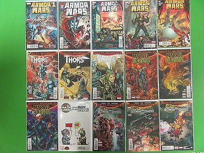 Secret Wars Armor Wars Thors AOU vs Marvel Zombies Run Lot 15 Comics - Marvel