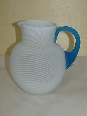 Antique American Satin Swirl Art Glass Pitcher Victorian