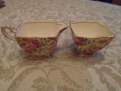 Royal Winton Summertime Ascot Cream and Sugar Vintage Used