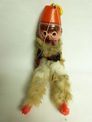 Vintage NOS Celluoid Monkey Puppet Carnival Prize with Fur #2