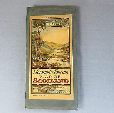 Antique Quality W & A K Johnston Motoring & Touring Fold-out Map of Scotland