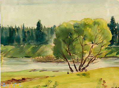 LANDSCAPE IN GREEN COLORS drawing by Russian artist A.M.Gromov