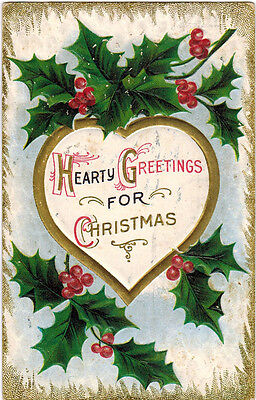 1910 Embossed Christmas card: HOLLY BERRIES AND HEART (posted in USA)