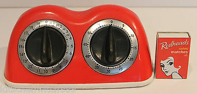 Vintage Red Double Kitchen Timer Dual 2-timer Collectable Prop Retro Amco dodgy