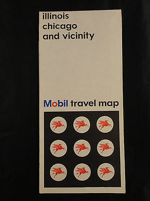 1966 illinois chicago and vicinity Mobil travel map
