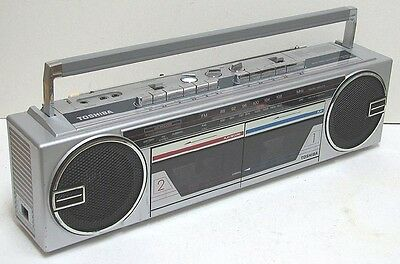 vintage TOSHIBA RT-8035 Dual  Cassette  AM FM Stereo Boombox made in JAPAN