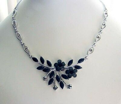 Flower Necklace & Earrings Set, Jet Rhinestone and Crystals N1188
