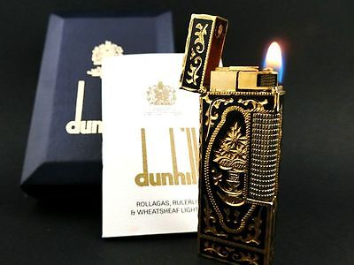 RARE Hand-carving BEAUTIFUL!! DUNHILL BLACK Lacquer Lighter & Box VINTAGE NR