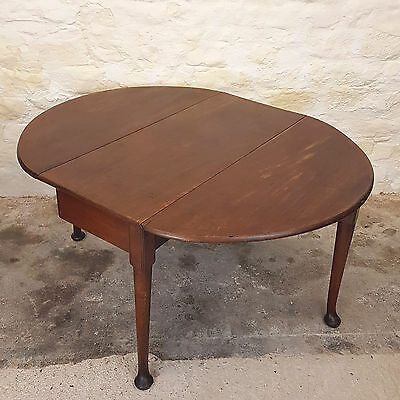 George III Mahogany Oval Drop Leaf Pad Foot Dining Table C1780 (Georgian Antique