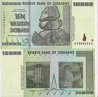 One Crisp New Zimbabwe 10 Trillion Dollar Bill AA /2008, P-88, UNC