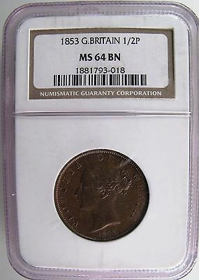 GREAT BRITAIN. 1853 1/2 Penny, NGC MS 64 Brown.