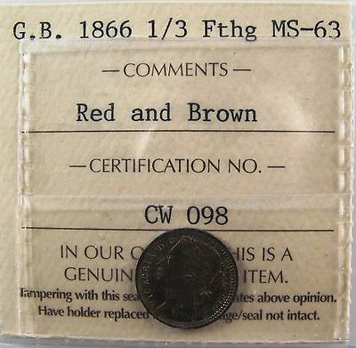 GREAT BRITAIN. 1/3 Farthing, 1866, for use in Malta, ICCS MS-63 R&B KM# 750
