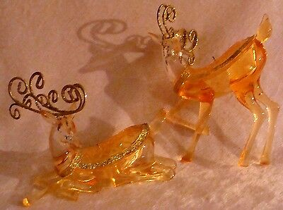 Amber Lucite Reindeer Ornaments Glitter Antlers Glitter Accents Xmas Ornaments