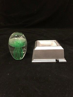 Green Jellyfish Paperweight With Light Base