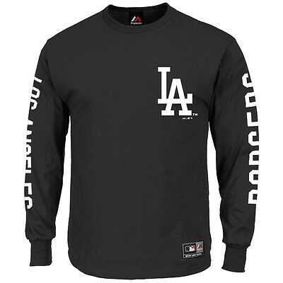 LA Dodgers Majestic MLB Mavern Long Sleeve T-Shirt - Black