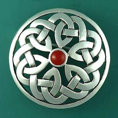 Silver Scottish Celtic Knotwork Brooch - Kilt Dancing Pin - Set with Red Agate