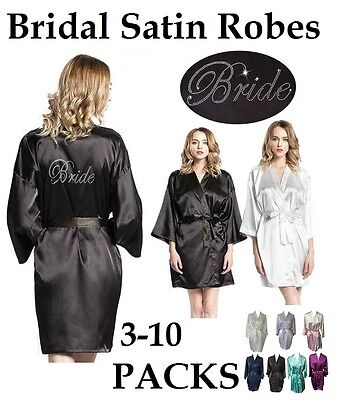 NEW! Bride Bridesmaid Maid of Honour Satin Robe Dressing Gown Bridal Party Hens