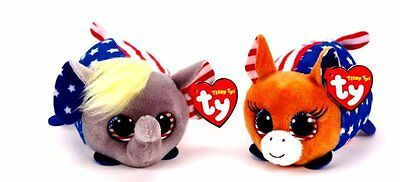 Set Of 2 Hillary Clinton AND Donald Trump Vote Teeny TY Beanie Stackable Plush