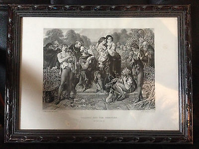 Framed 1876 SHAKESPEARE PRINT ~ AS YOU LIKE IT ~ ORLANDO AND THE WRESTLER