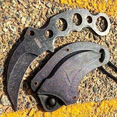 "7.5"" Karambit Knife Full Tang Stone Washed w/ Sheath Throwing"
