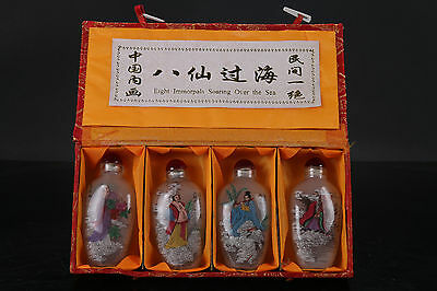 4PC Exquisite hand painted beautiful woman coloured glaze snuff bottle NR