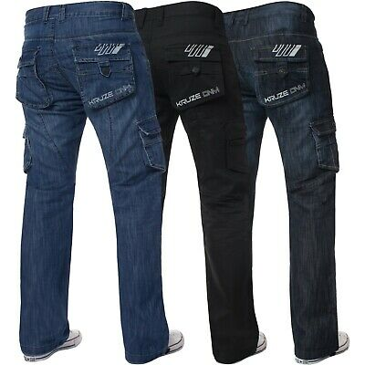 Kruze Mens Combat Cargo Denim Trousers Work Pants Jeans Big King All Waist Sizes