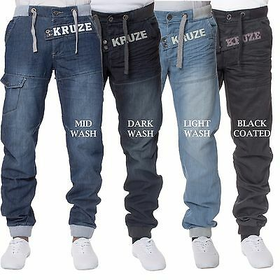 New Mens KRUZE Regular Fit Coated Cuffed Jogger Jeans All Waist Sizes