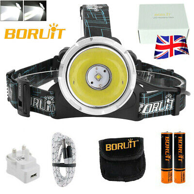 BORUiT 12000LM 3*XML T6 Headlamp Rechargeable Head light Torch 2x18650+3xCharger