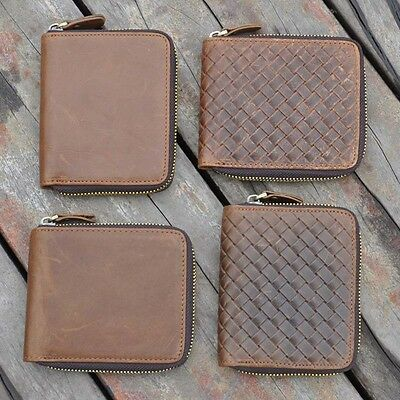 RFID Blocking Durable Mens Bifold Wallet Genuine Cowhide Leather Zip-Around