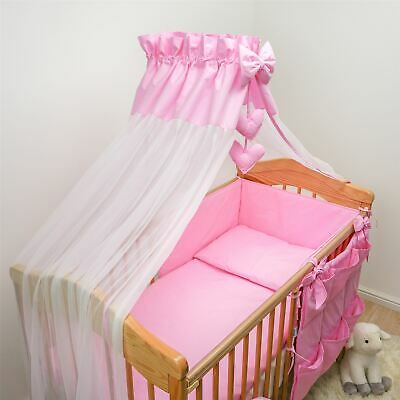 10 Pc Baby Bedding Set with Bumper and Canopy (Fits 120x60 cm Cot) - Plain Pink