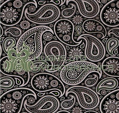Hydro Dipping Hydrographics Water Transfer Film PAISLEY BLACK  ROLLED ONLY!