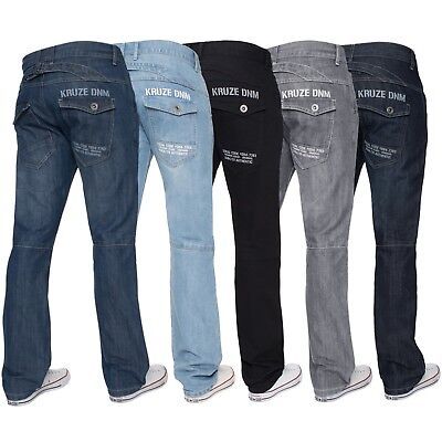 New KRUZE Mens Regular Fit Jeans Straight Leg Denim Trousers Pants Big King Size
