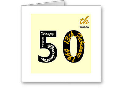 Unique Typographic Personalised 50th Gold Birthday Card / Gift Male / Female