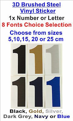1x Bold Font 3D Brushed Steel Sticker -  Number or Letter ( 8x Font Choose )