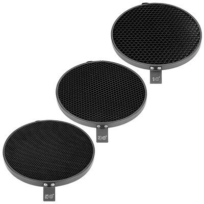 "Phot-R 3x 7"" 10° 30° 50° Degree Honeycomb Grid Eggcrate Set 18cm Reflector Dish"