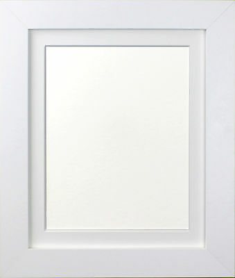 Metro White Picture Photo Frame with White Black and Ivory Mounts MDF Wood