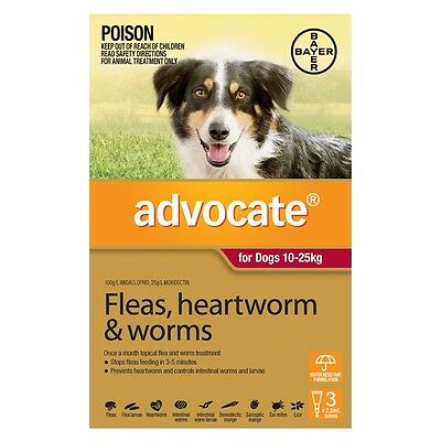 Advocate FLEAS, HEARTWORM & WORMS CONTROL TREATMENT Dogs 10-25kg RED - 3 Or 6Pcs