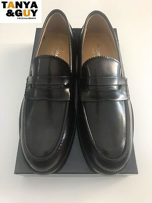 Scarpe Uomo Mocassini College Pelle Vernice Blu Nero Testa Moro Mod. Come Church
