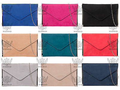 Large Envelope Suede Evening Clutch Handbag Party Prom Wedding Bag 14Color 50292