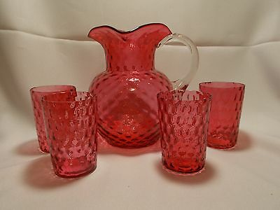 Vintage Victorian (?) CRANBERRY Water Pitcher and 4 Tumblers