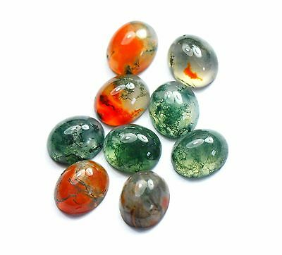 Loose Oval Cabbachon Natural Moss Agate Bright Colours Choose Size