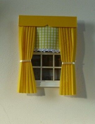 Dolls House Curtains Yellow With Gingham Blind