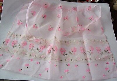 Vintage Pink Chiffon Half Apron - Decorated With Pink Roses