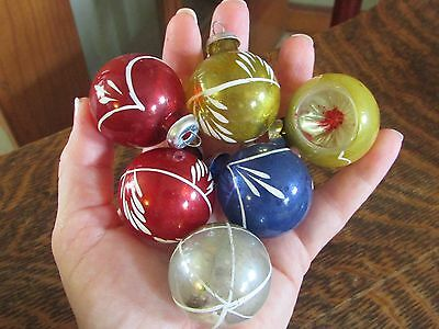 Set Of 6 Vintage Feather Tree Sm Christmas Ornaments, Blue, Red, Yellow