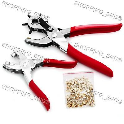 Leather-Craft Tool Kit Revolving Hole Punch Plier Eyelet Grommet for Belt Fabric