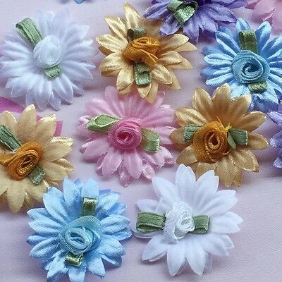 10pcs Ribbon Flowers Daisy rose wedding appliques craft mix #460