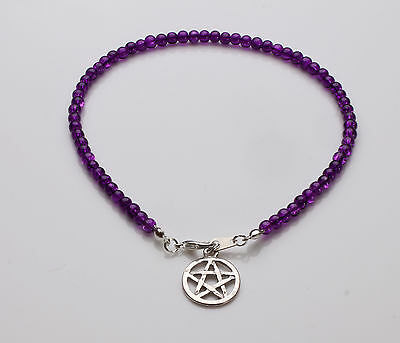 Purple Crackle Glass Anklet with Pentagram pendant