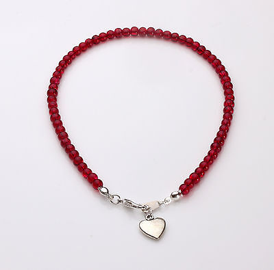 Red Crackle Glass Anklet with Heart pendant